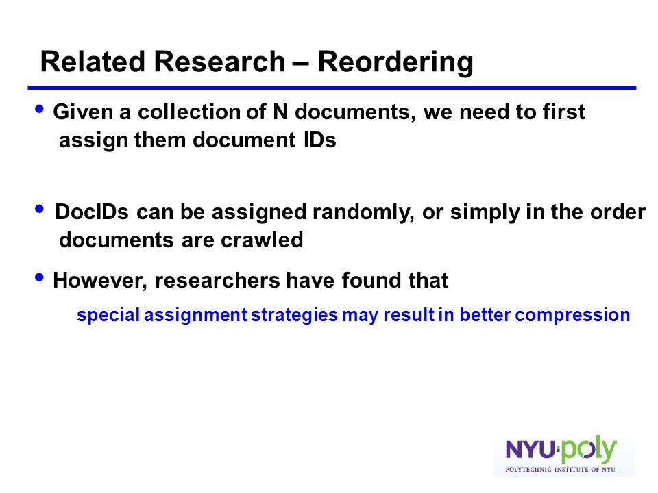 Related Research – Reordering