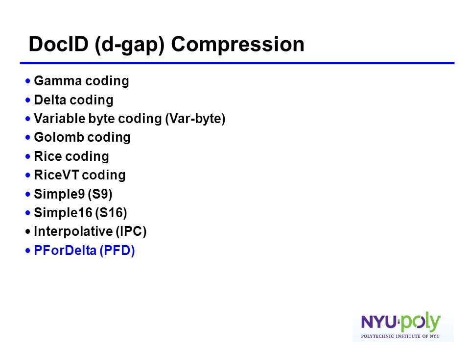 DocID (d-gap) Compression