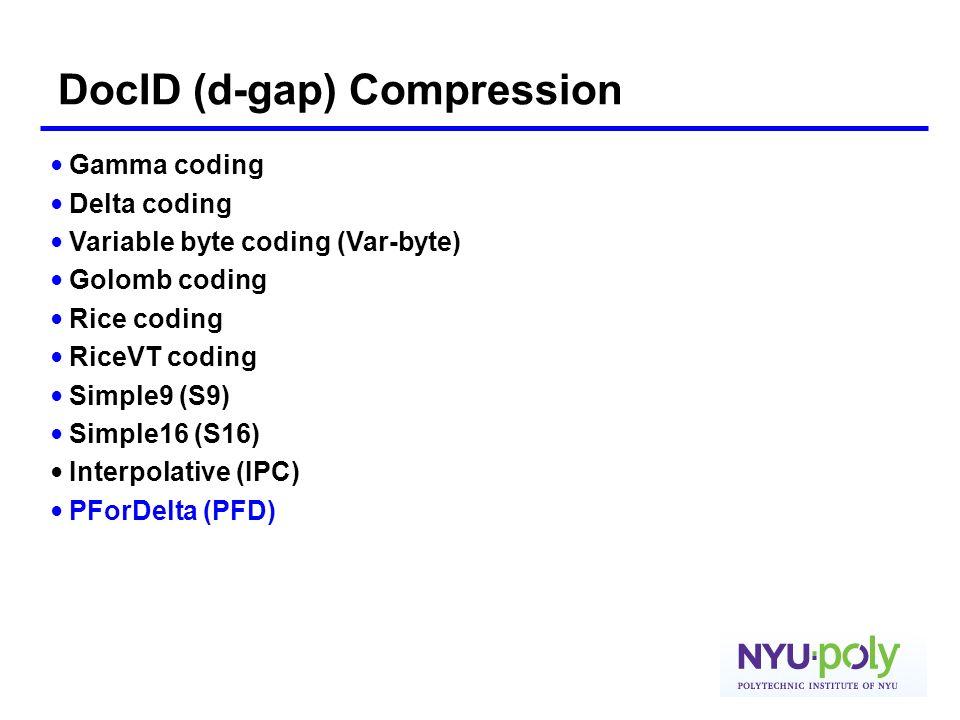 DocID (d-gap) Compression
