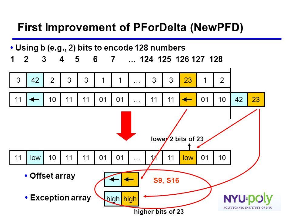 First Improvement of PForDelta (NewPFD)