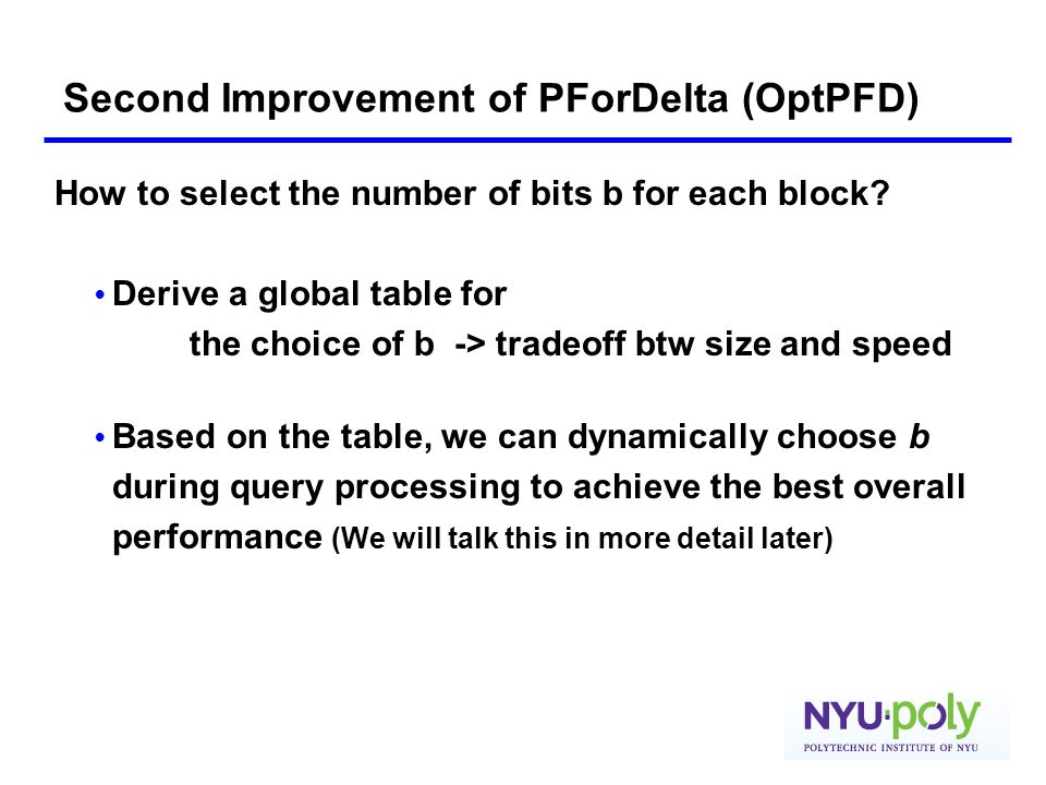 Second Improvement of PForDelta (OptPFD)