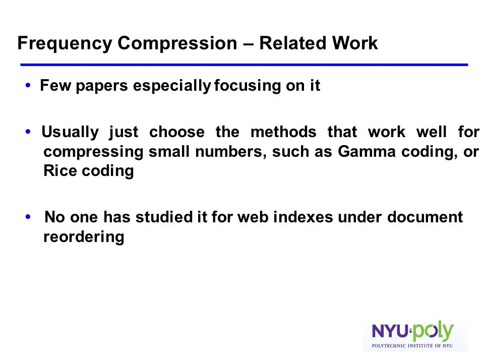 Frequency Compression – Related Work