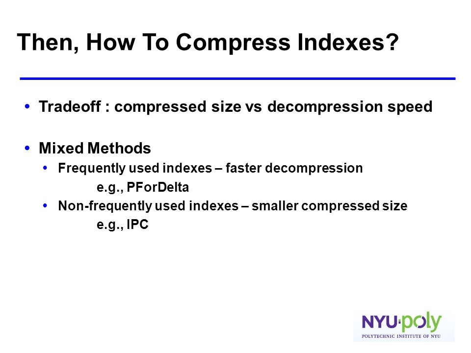 Then, How To Compress Indexes