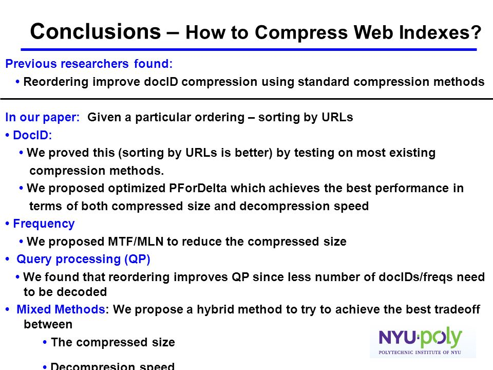 Conclusions – How to Compress Web Indexes