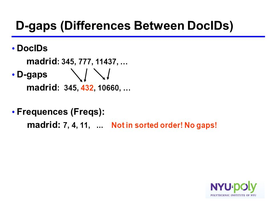 D-gaps (Differences Between DocIDs)