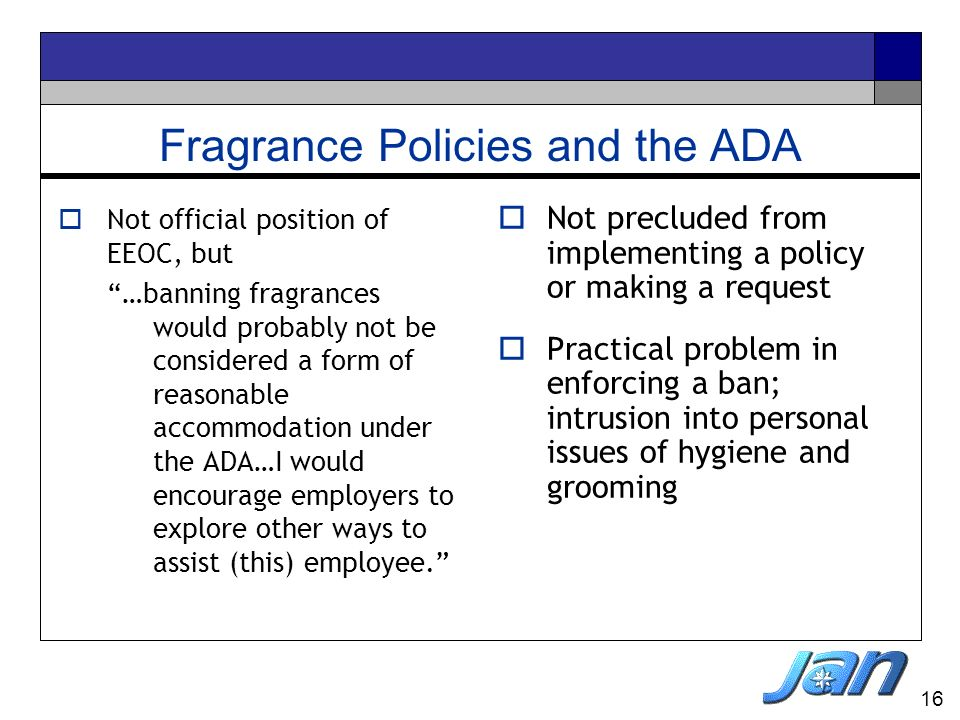 Fragrance Policies and the ADA