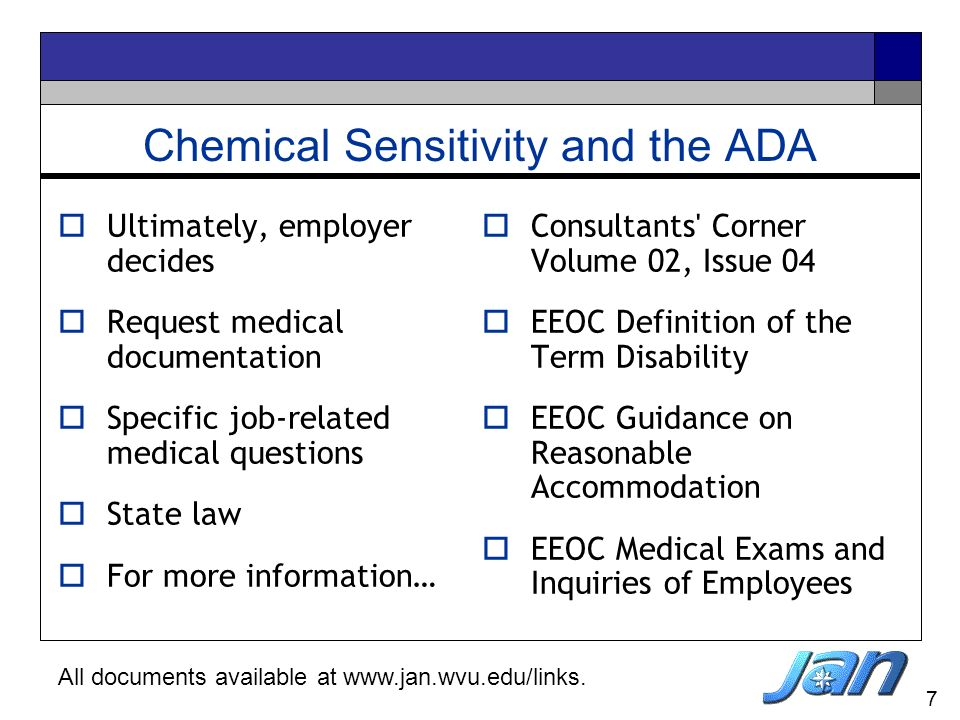Chemical Sensitivity and the ADA
