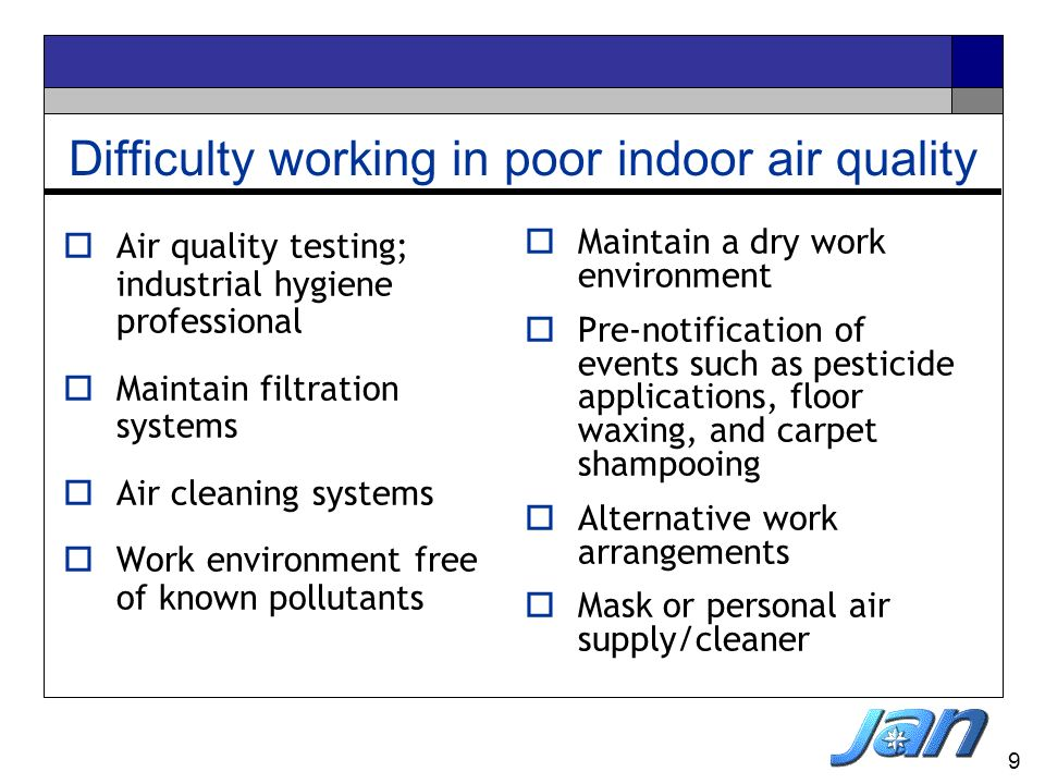 Difficulty working in poor indoor air quality