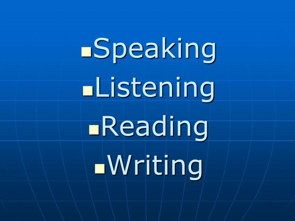 Speaking Listening Reading Writing