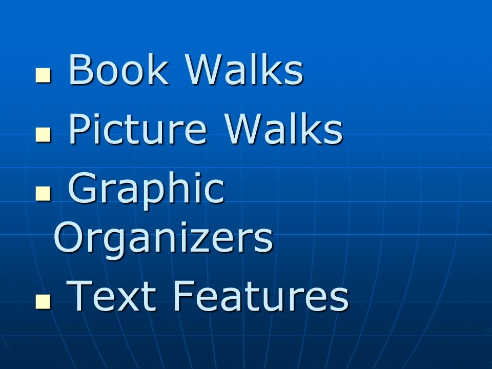 Book Walks Picture Walks Graphic Organizers Text Features