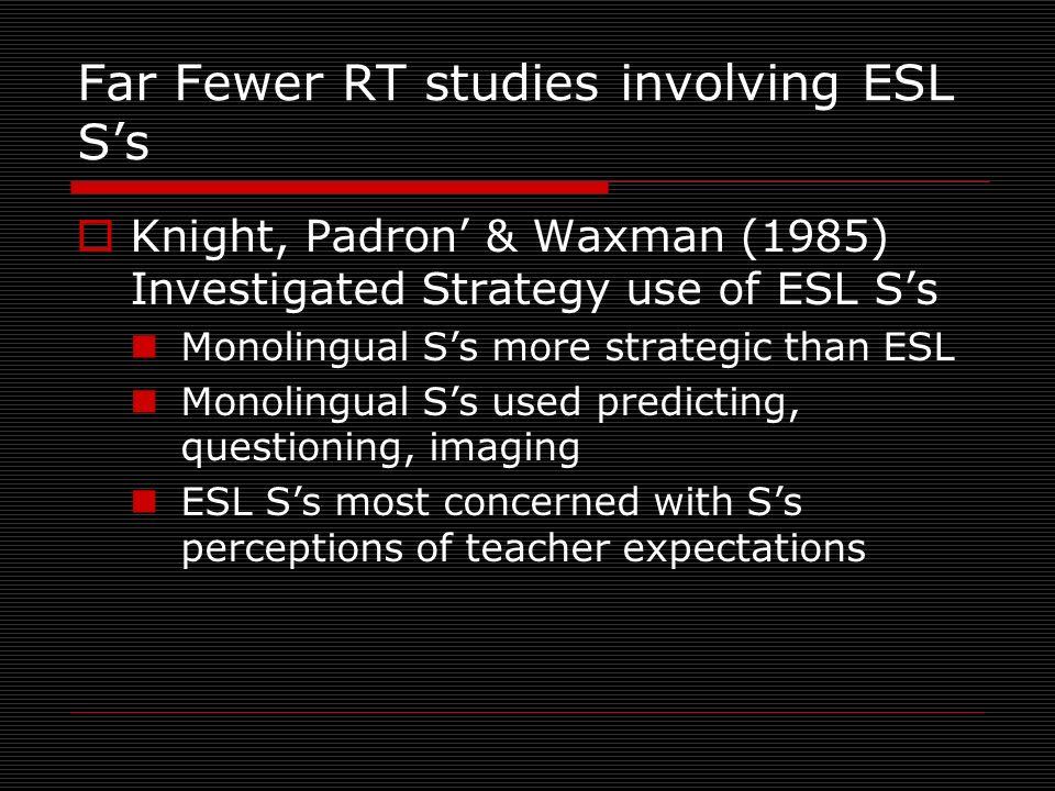Far Fewer RT studies involving ESL S's