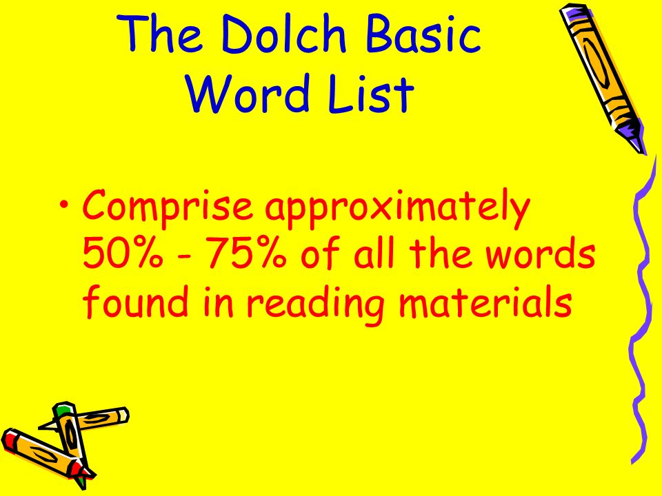 The Dolch Basic Word List