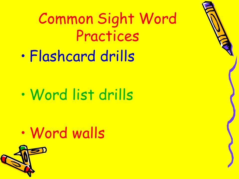 Common Sight Word Practices