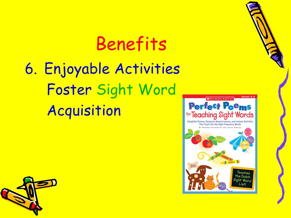 Benefits Enjoyable Activities Foster Sight Word Acquisition