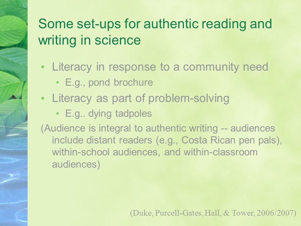 Some set-ups for authentic reading and writing in science