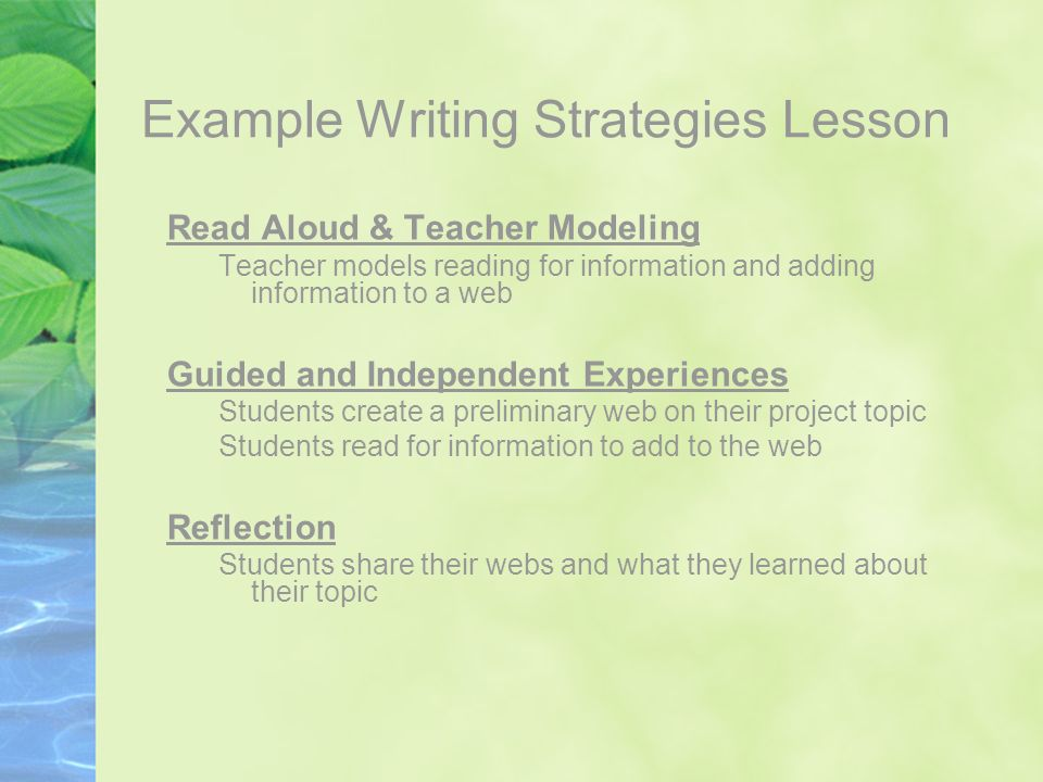Example Writing Strategies Lesson