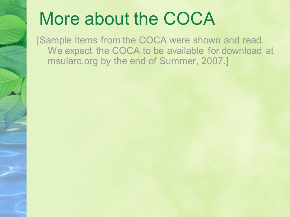 More about the COCA