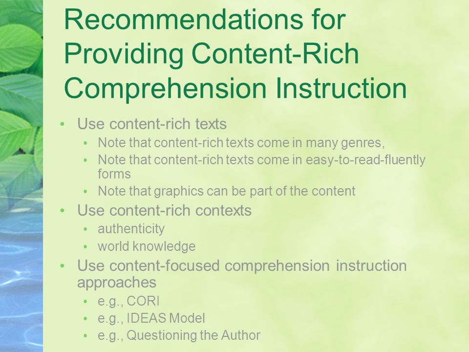 Recommendations for Providing Content-Rich Comprehension Instruction