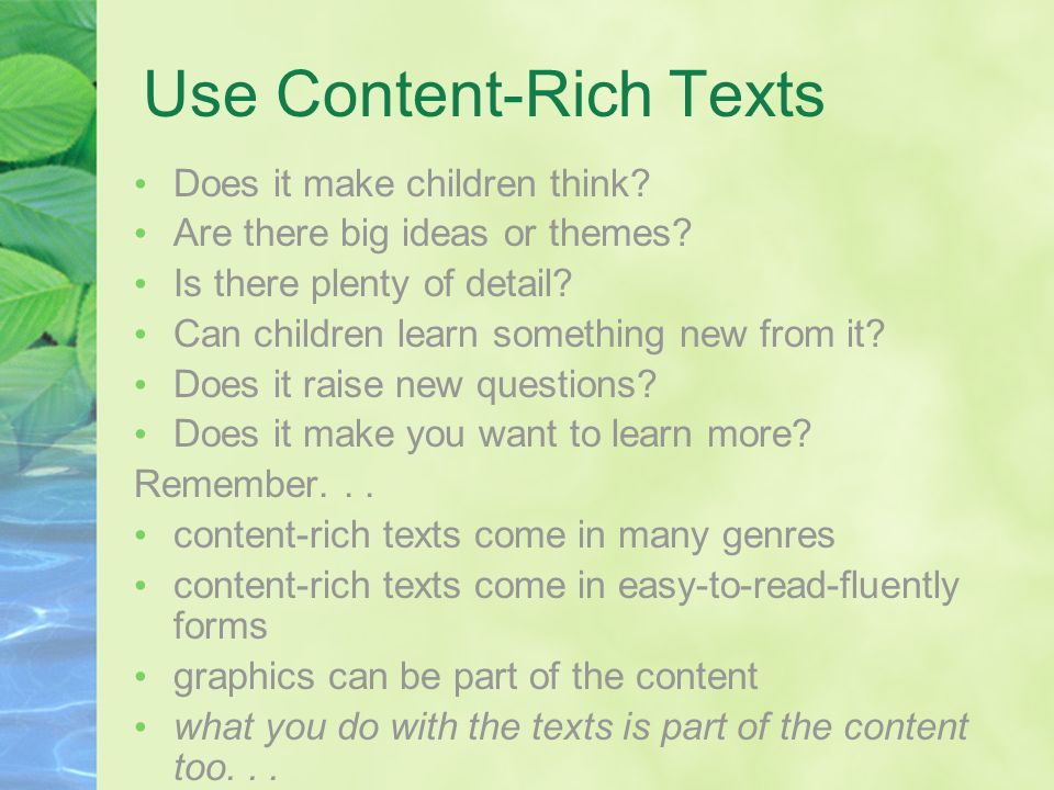 Use Content-Rich Texts