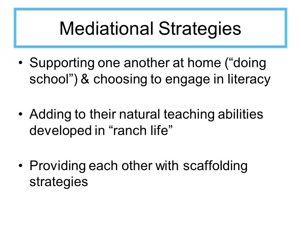 Mediational Strategies