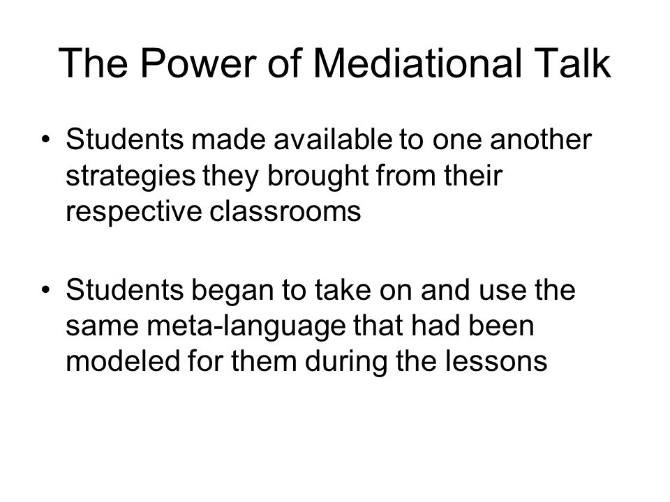 The Power of Mediational Talk