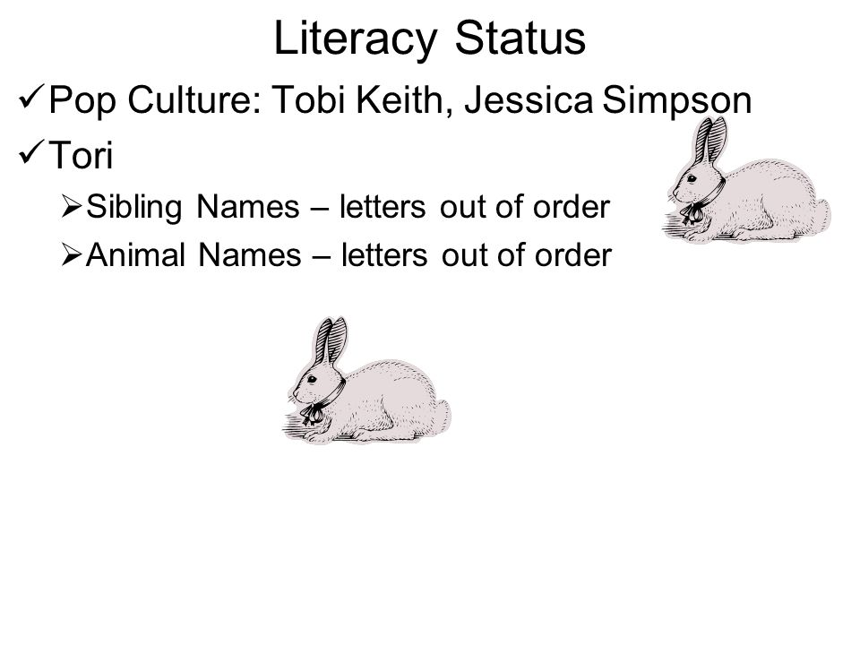 Literacy Status Pop Culture: Tobi Keith, Jessica Simpson Tori