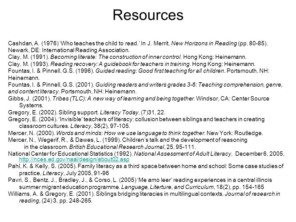 Resources Cashdan, A. (1976) 'Who teaches the child to read.' In J. Merrit, New Horizons in Reading (pp. 80-85).