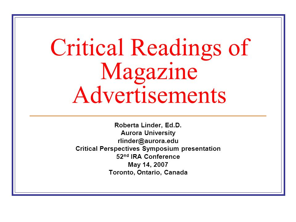 Critical Readings of Magazine Advertisements