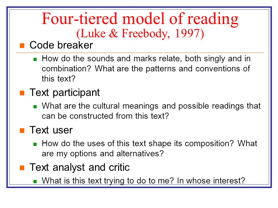 Four-tiered model of reading (Luke & Freebody, 1997)