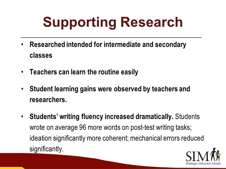 Supporting Research Researched intended for intermediate and secondary classes. Teachers can learn the routine easily.
