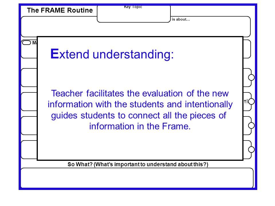 Extend understanding: