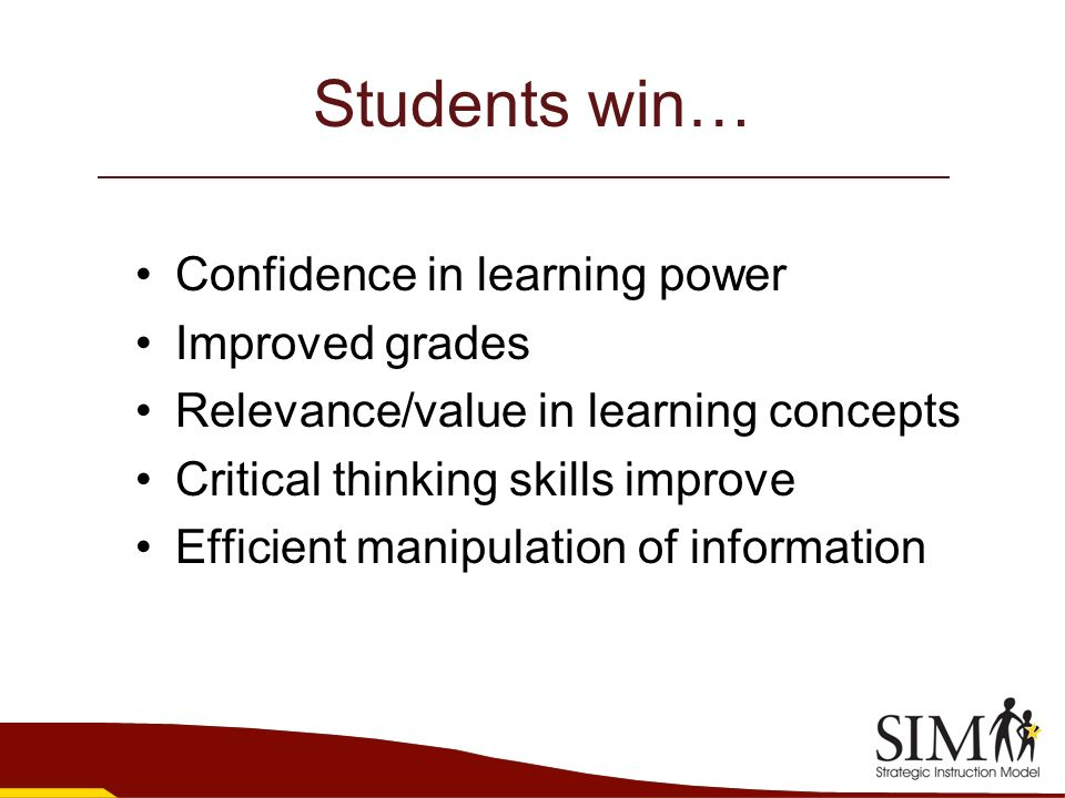 Students win… Confidence in learning power Improved grades