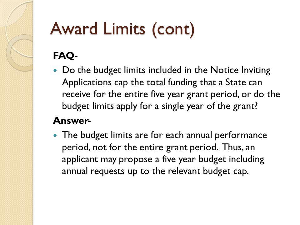 Award Limits (cont) FAQ-