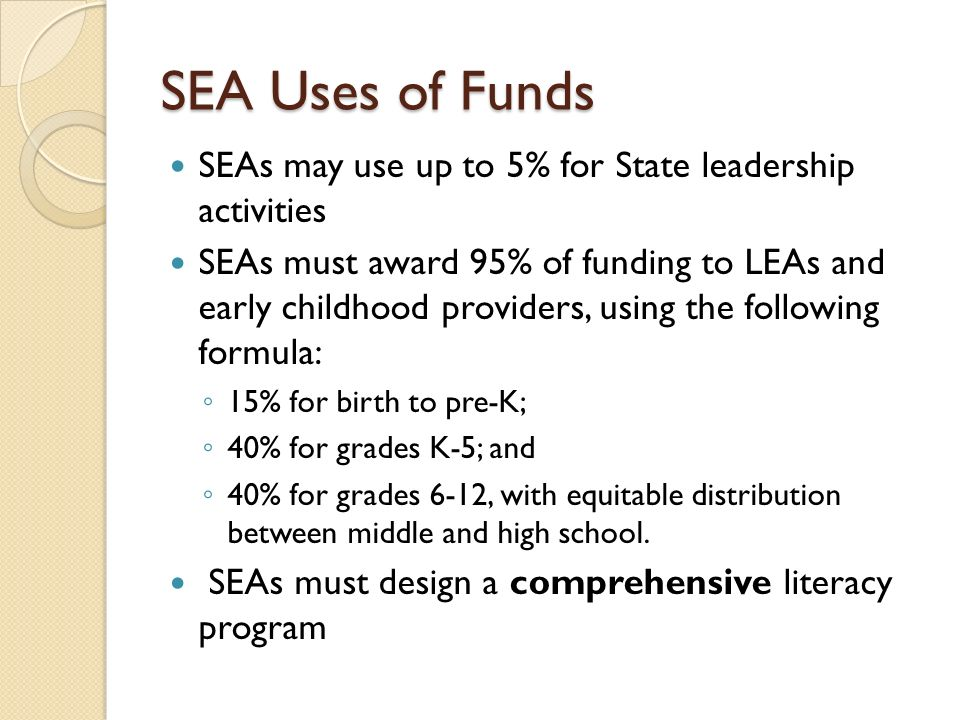 SEA Uses of Funds SEAs may use up to 5% for State leadership activities.