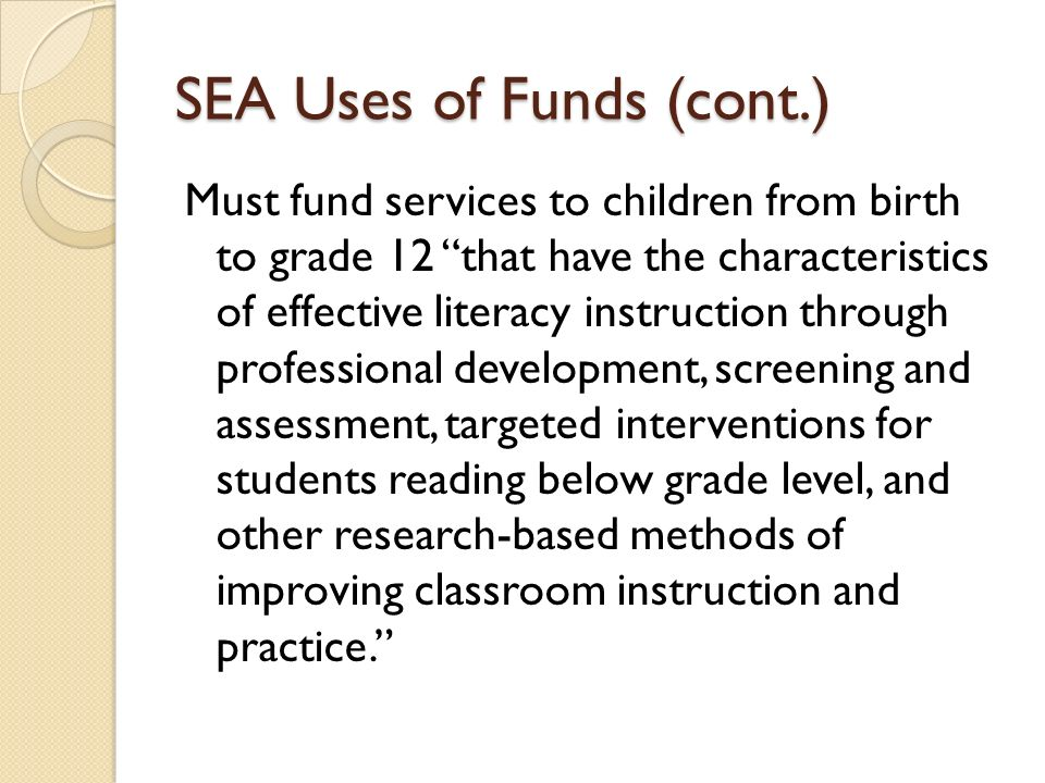 SEA Uses of Funds (cont.)