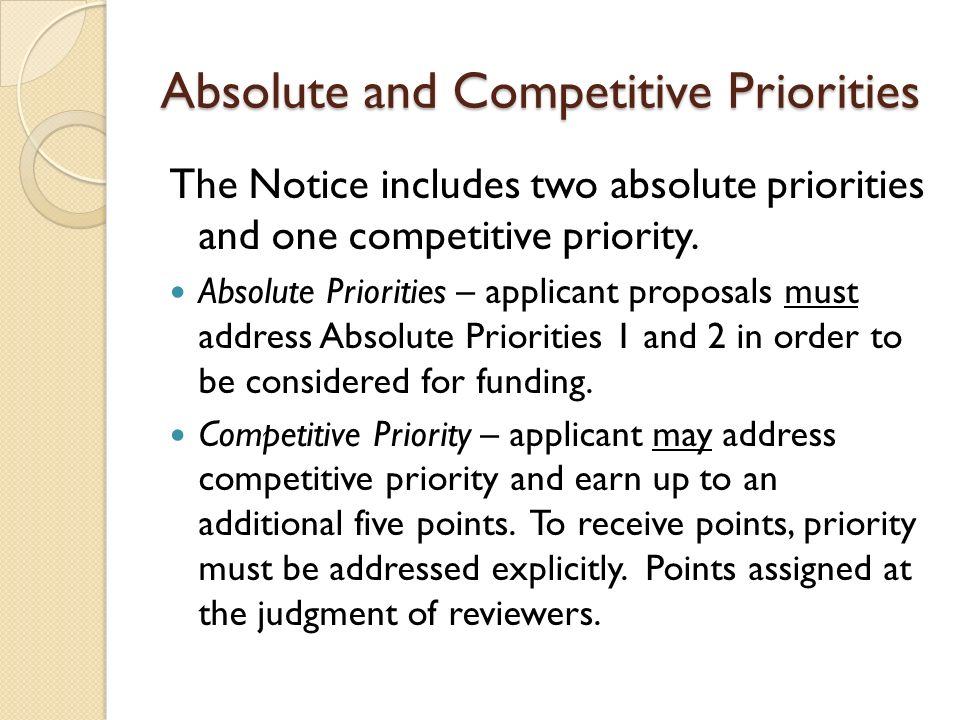 Absolute and Competitive Priorities