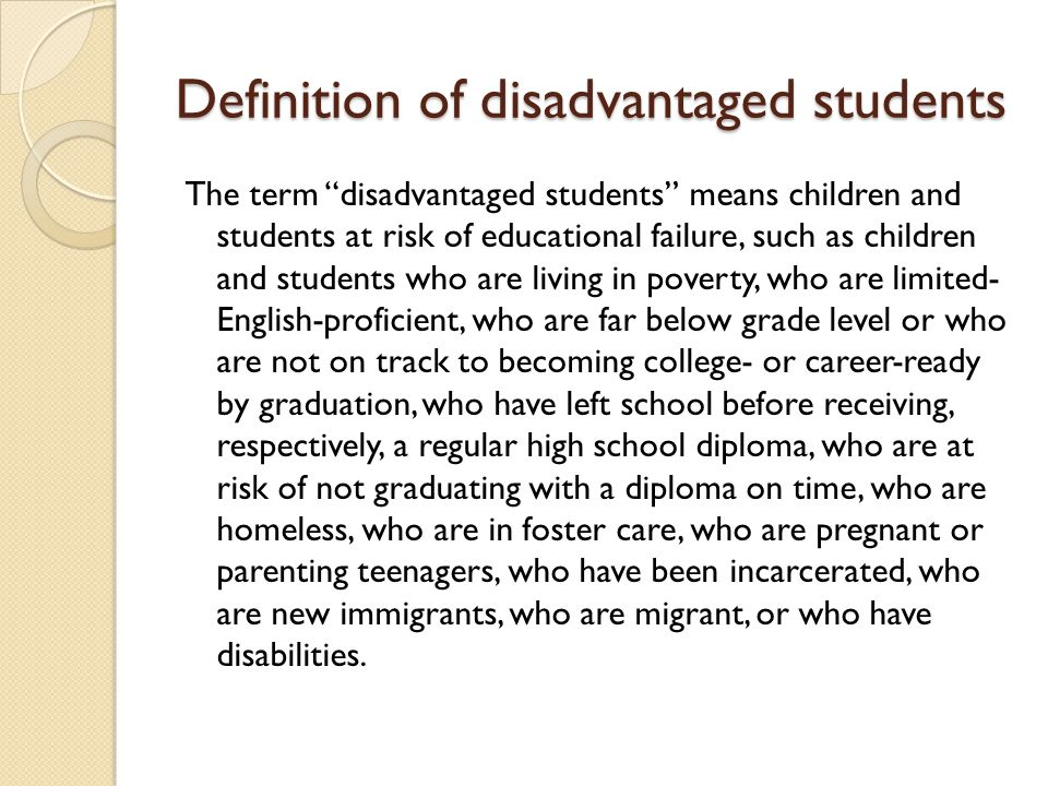 Definition of disadvantaged students