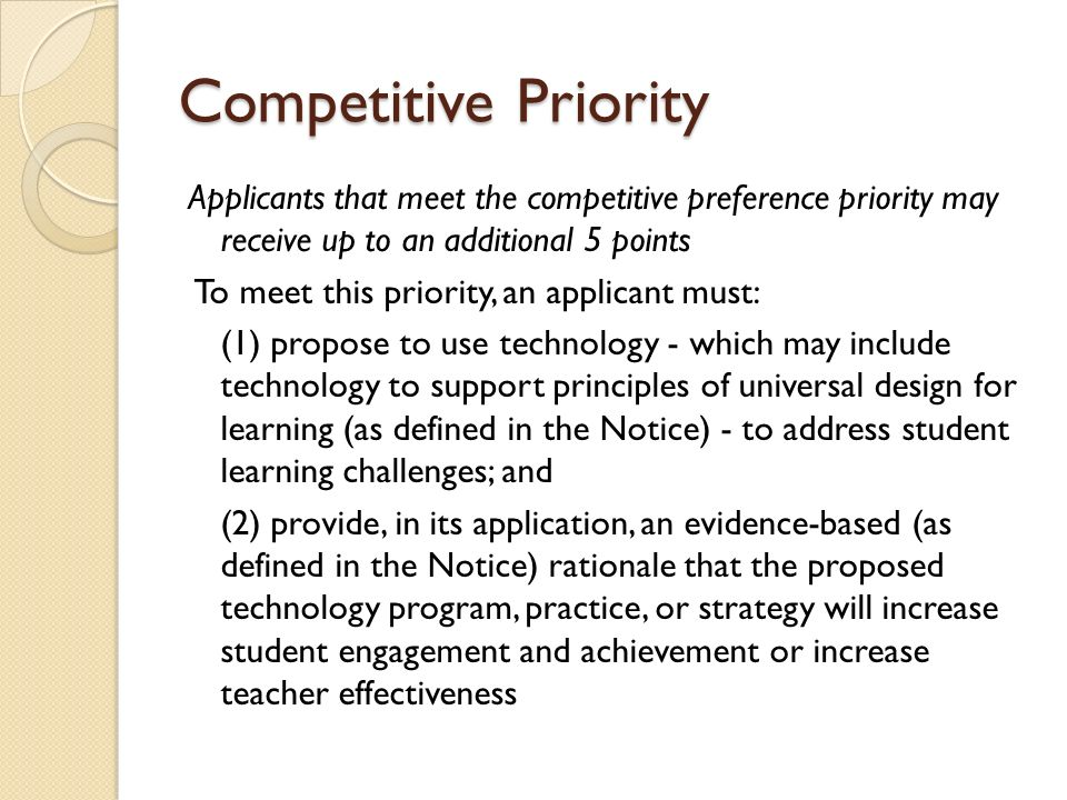 Competitive Priority