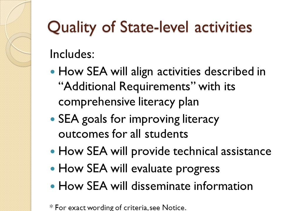 Quality of State-level activities