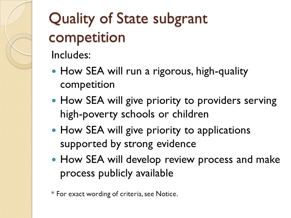 Quality of State subgrant competition