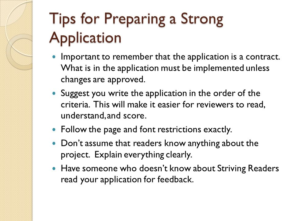 Tips for Preparing a Strong Application
