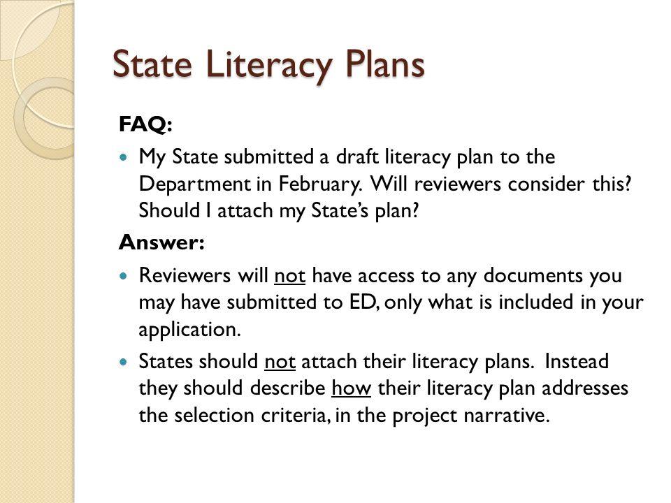 State Literacy Plans FAQ: