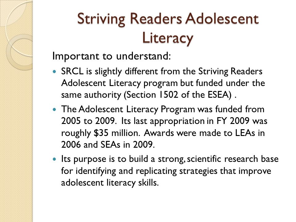 Striving Readers Adolescent Literacy
