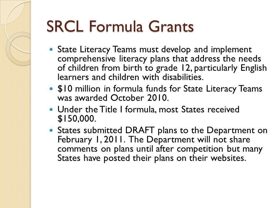 SRCL Formula Grants