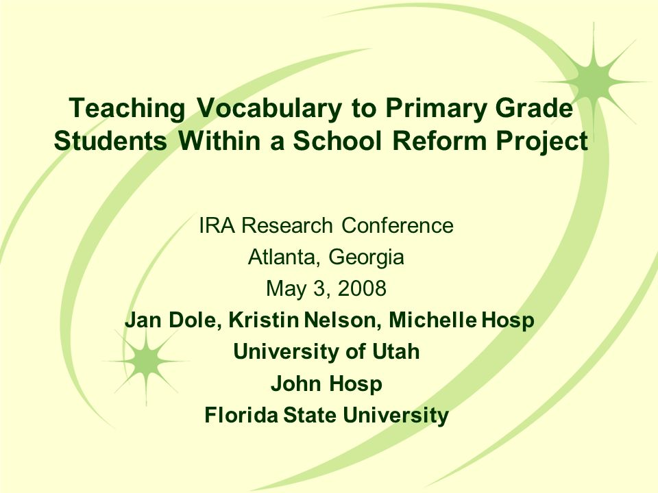 Teaching Vocabulary to Primary Grade Students Within a School Reform Project