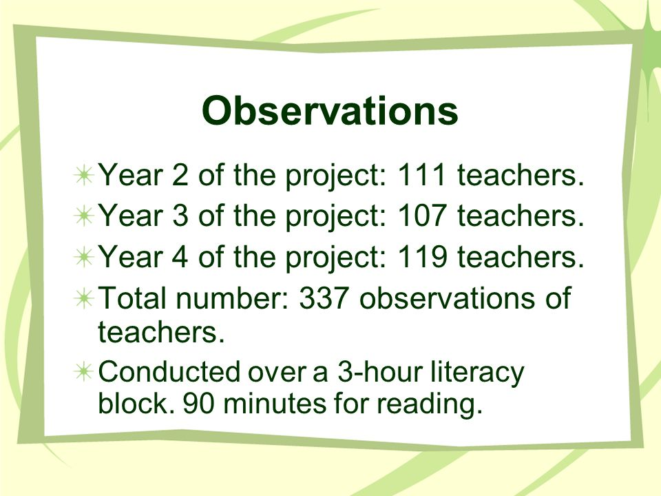Observations Year 2 of the project: 111 teachers.
