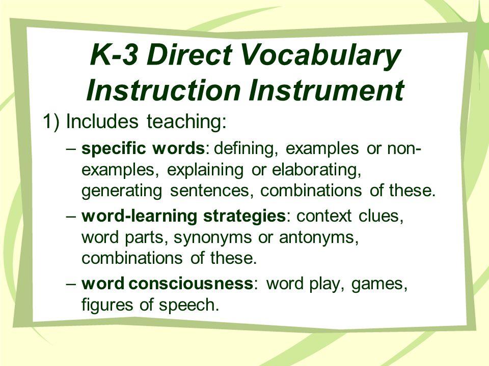 K-3 Direct Vocabulary Instruction Instrument
