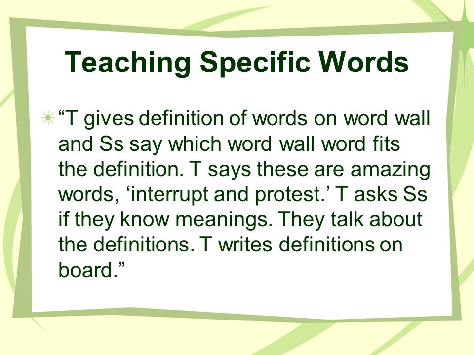 Teaching Specific Words