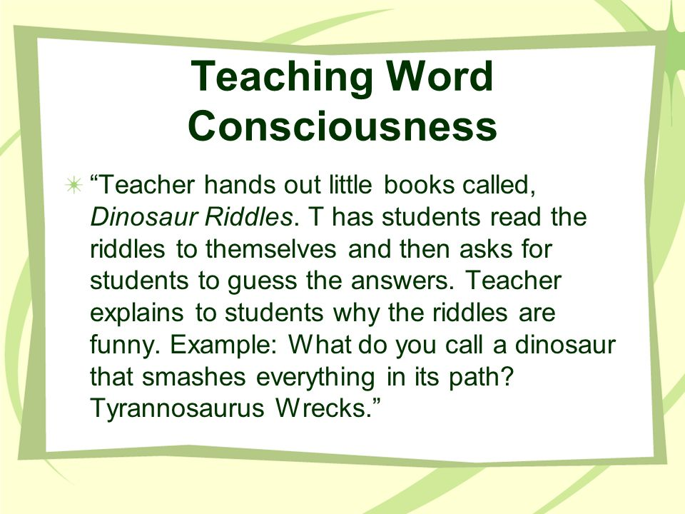 Teaching Word Consciousness