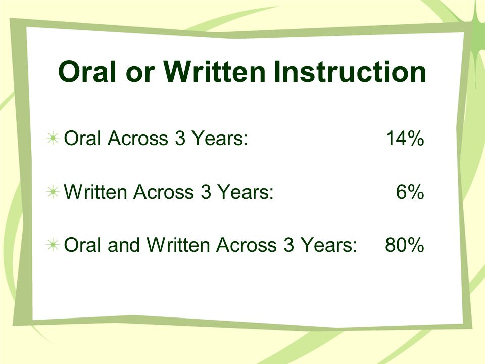 Oral or Written Instruction